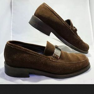 Gucci women's brown suede leather loafers Sz 7 D